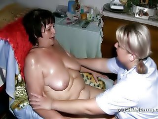 Two chubby old lesbians are going wild