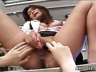 Japanese beauties playing with toys with one moaning very loud off all the pleasure