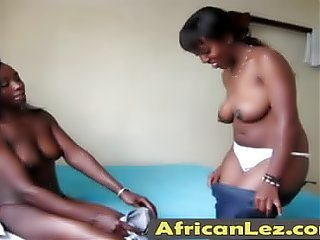 African lesbians using strap on in doggy style