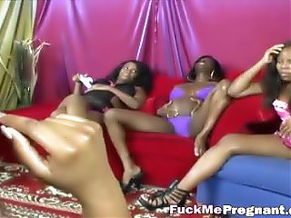 Ebony pregnant lesbians with kinky toys in foursome