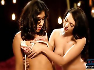 Sensual lesbian massage with two hot brunette babes