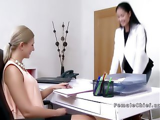 Blonde female agent fingers Asian babe