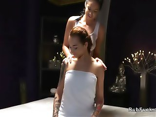 Busty Russian masseuse fingers babe