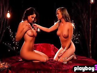 Busty model teens satisfied each other at a hot massage