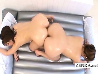 Plump and busty Japan lesbians rub huge asses together