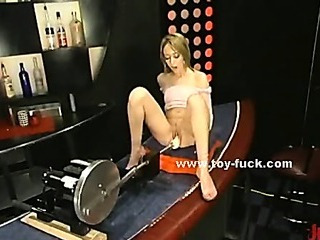 Babe with horny pussy sits over electric toy that penetrates her in masturbation sex video