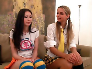 Maya and Alina fucking in their teacher's place